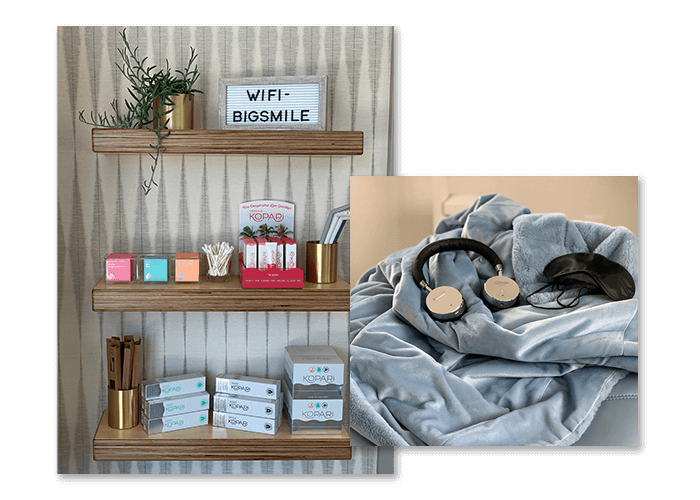 The headphones, comfort blankets, and office amenities provided by our dentist in San Luis Obispo CA